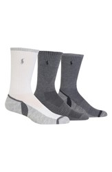 Ralph Lauren 3 Pack Athletic Socks White Grey Charcoal Heather