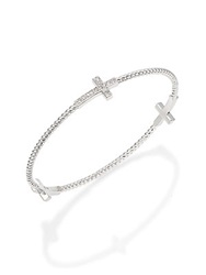 Jude Frances White Sapphire And Sterling Silver Cross Bracelet
