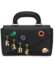 Christopher Kane Devine Stone Charm Shoulder Bag Black