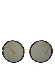 Linda Farrow Kew Round Acetate And Metal Sunglasses Black Gold