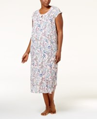 Charter Club Plus Size Crinkle Printed Nightgown Only At Macy's Blooming Flowers