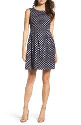 Vince Camuto Women's Eyelet Fit And Flare Dress Navy