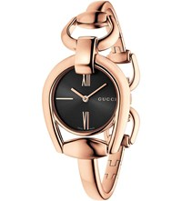 Gucci Ya139507 Horsebit Rose Gold Watch Black