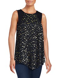 August Silk Sleeveless Embellished Asymmetric Top Black