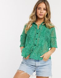 French Connection Floral Pintuck Shirt Green