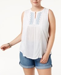 Lucky Brand Trendy Plus Size Mixed Media Tank Top Bright White