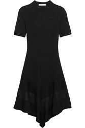 Givenchy Organza Paneled Dress In Black Ribbed Knit