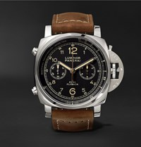 Officine Panerai Luminor 1950 Pcyc 3 Days 44Mm Flyback Chronograph Automatic Stainless Steel And Assolutamente Leather Watch Brown