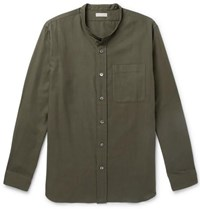 Margaret Howell Grandad Collar Cotton And Cashmere Blend Shirt Green