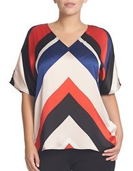 Chaus Dolman Sleeve Coastal Stripe Blouse Red Blue White