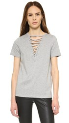 Glamorous Lace Up Tee Grey Marl