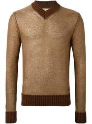 Al Duca D'aosta 1902 V Neck Sweater Brown