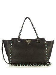 Valentino Rockstud Rolling Leather Tote Black