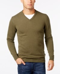 Barbour Men's Elbow Patch V Neck Sweater Dark Olive