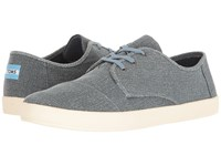 Toms Paseo Sneaker Slate Blue Coated Twill Men's Lace Up Casual Shoes Gray