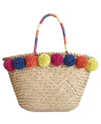 Inc International Concepts Livie Pom Straw Tote Only At Macy's Tan
