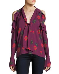 Tanya Taylor Adriene Spaced Out Floral Cold Shoulder Silk Blouse Plum