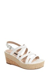 Women's French Connection 'Liya' Platform Wedge Strappy Sandal Summer White Leather