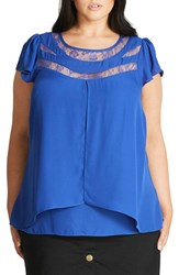 City Chic Plus Size Women's Lace Inset Cap Sleeve Top Blue