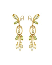 Vianna B.R.A.S.I.L 18K Gold Butterfly Tassel Earrings W Yellow Beryl Peridot And Diamonds