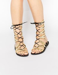 Missguided Geometric Lace Up Flat Sandals Gold