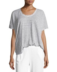 Atm Anthony Thomas Melillo Short Sleeve Striped Linen Tee White Black White Black