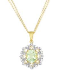 Victoria Townsend Green Amethyst 2 2 5 Ct. T.W. And White Topaz 1 4 Ct. T.W. Pendant Necklace In 18K Gold Plated Sterling Silver