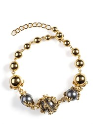 Kasun London Orb And 3 Pearl Chain Bracelet