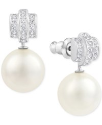 Swarovski Silver Tone Crystal And Imitation Pearl Drop Earrings