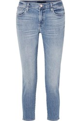 J Brand Sadey Cropped Mid Rise Slim Leg Jeans Light Denim