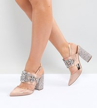 Asos Perfect Combo Wide Fit Bridal Embellished Heels Nude Beige
