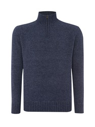 Howick Oakfield 100 Lambswool Funnel Neck Denim