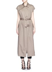 Helmut Lang Double Face Cotton Linen Sleeveless Trench Vest Green