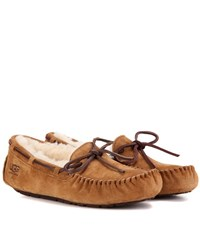 Ugg Dakota Shearling Lined Suede Moccasins Brown