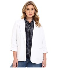 Michael Michael Kors Plus Size Linen Shired Boyfriend Jacket White Women's Coat