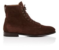 Barbanera Men's Kerouac Suede Lace Up Boots Dark Brown