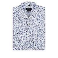 Barneys New York Floral Cotton Dress Shirt White