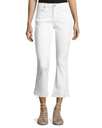 Derek Lam Gia Mid Rise Cropped Flare Jeans With Released Hem White
