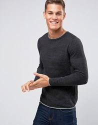 Selected Homme Crew Neck Knitted Jumper With Contrast Raw Hem Black