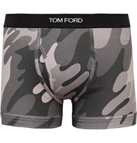 Tom Ford Camouflage Print Stretch Cotton Boxer Briefs Gray