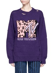 Marc Jacobs X Mtv Logo Leopard Intarsia Wool Cashmere Sweater Purple