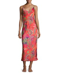 Natori Katerina Abstract Paisley Print Satin Gown Blue Multi
