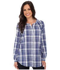Lucky Brand Plaid Peasant Blue Multi Women's Clothing