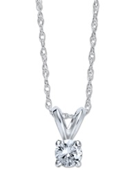 Macy's Round Cut Diamond Pendant Necklace In 10K White Gold 1 4 Ct. T.W.