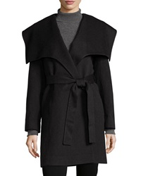 Fleurette Wing Collar Belted Wool Coat Oxford