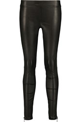 Vince Zip Embellished Leather Leggings Black