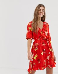 Influence Floral Wrap Dress With Tie Sleeve And Ruffle In Red
