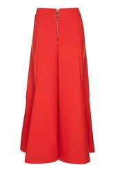 Topshop Frill Zip Palazzo Trousers Red