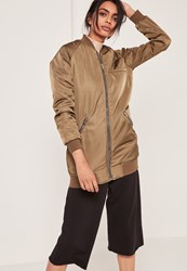 Missguided Longline Bomber Jacket Khaki Green