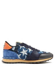 Valentino Rockrunner Embellished Low Top Trainers Blue Multi